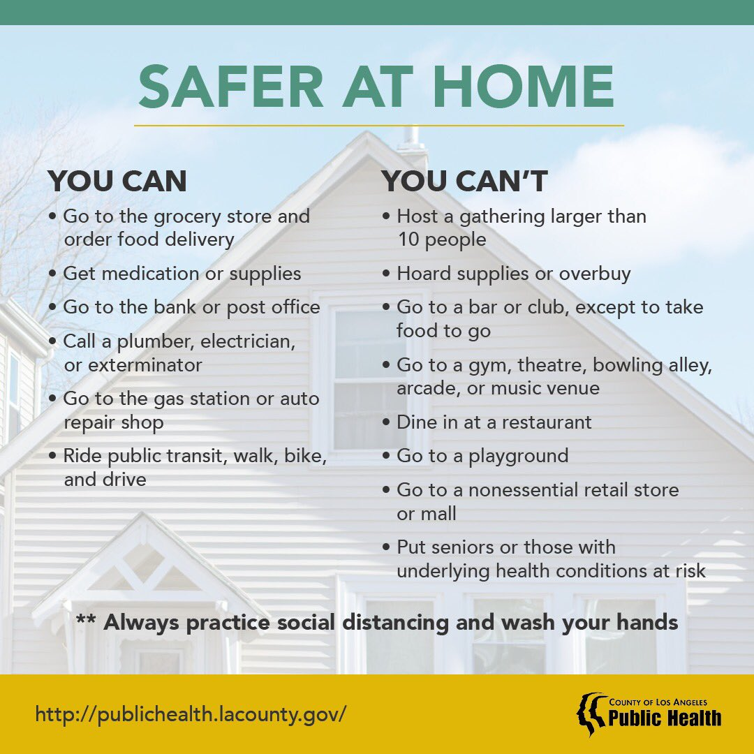Safer at Home. Learning more at http://publichealth.lacounty.gov